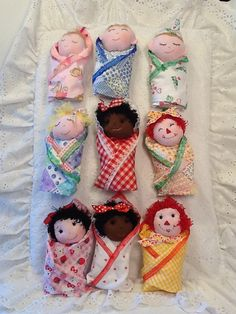 Swaddle Baby  PDF Doll Pattern with 9 Faces & 9 by PeekabooPorch