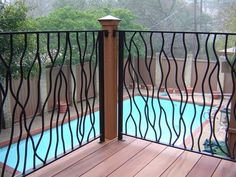 Deck railing isn't simply a safety function. It can include a sensational visual to mount a decked area or porch. These 36 deck railing ideas reveal you exactly how it's done! Metal Deck Railing, Wrought Iron Handrail, Balcony Railing Design, Wrought Iron Gates, Gates And Railings, Staircase Railings, Bannister, Iron Railings, Stairs