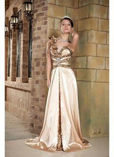 Glamorous A-line One-shoulder Chapel Train Elastic Satin Sequins Occasion Evening Dress