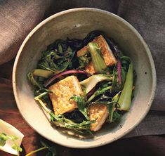 Stir-Fried Bok Choy and Mizuna [or Arugula] with Tofu. Served it with barley... it was one of those meals that just makes you feel good.