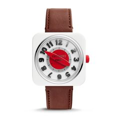 #FOSSILxEK Retro Timer Two-Hand Leather Watch in Brown. Coupling the charm of everyday mid-century household objects with iconic design characteristics of the era. Fossil Watches, Rolex Watches, Mint, Peppermint