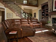 This Flexsteel sectional provides seating for a crowd.  Now everyone can have the best seat in the house to watch the game.  The top grain leather makes it easy to clean up after those crazy fans!