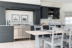 Our Suffolk kitchen, painted in Charcoal with handles to match. #SuffolkRange #Neptune #Kitchen http://www.neptune.com/