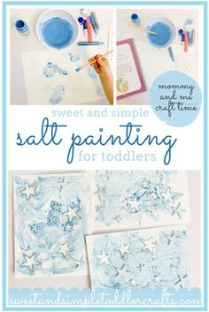 try this exciting new way to paint with your toddlers, mixing salt with your paints for added sensory play and excitement. #paintingwithkids #saltpainting #sundayschoolcraft #kidsdevotional #painting