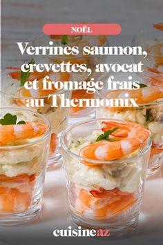 Ces verrines au saumon, crevettes, avocat et fromage frais issues du Thermomix feront effet lorsque vous les apporterez à l'apéritif du repas de Noël.#noel#recette#cuisine#verrine#saumon#apero#robotculinaire#thermomix #aperitif