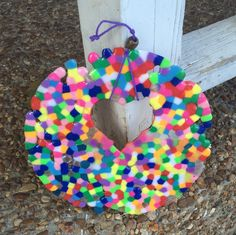 Whimsical Round Heart Recycled Melted Beads Rainbow Sun Catcher/Mobile with bead accents - Quirky window fun! by BombPopBoutique on Etsy