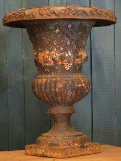 Large black french cast iron medici urn vase planter garden patina rustic