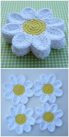 Transcendent Crochet a Solid Granny Square Ideas. Inconceivable Crochet a Solid Granny Square Ideas. Beau Crochet, Crochet Mignon, Crochet Daisy, Cute Crochet, Crochet Flowers, Knit Crochet, Ravelry Crochet, Crochet Dishcloths, Daisy Flowers