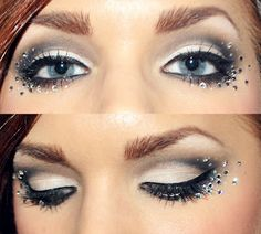 very edc eye make up, still subtle because its not all different obnoxious colors but has the rhinestones, doesnt have to be this many AT ALL. just a couple would be a cute addition to your make up