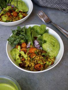 Curried Lentils & Rice w/ Cashew Cilantro Dressing