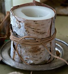 Birch Bark Candles | 35 DIY Fall Decorating Ideas for the Home | Fall Craft Ideas for Adults