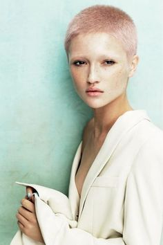 Hair: Angelo Seminara for Davines from the Powder collection Black Girls With Freckles, Freckles Girl, Angelo Seminara, Short Hair Cuts, Short Hair Styles, Pixie Cuts, Buzz Cut Hairstyles, Edgy Hairstyles, Hairstyle Ideas