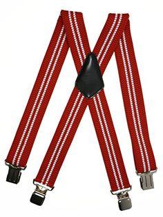 115 kr. (Findes i 42 forskellige farver og varianter) Men's Heavy Duty X-Shape Braces / Suspenders with Strong Clips, 4cm - Red / White (2 Stripe) Olata http://www.amazon.co.uk/dp/B00NQ72FXO/ref=cm_sw_r_pi_dp_frD4wb0CKDF68