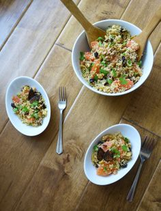 Grain salad with toasted walnuts, figs and grapefruit