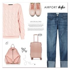 """Jet Set: Airport Style"" by paradiselemonade ❤ liked on Polyvore featuring AV London, Valentino, Current/Elliott, Rebecca Minkoff and CalPak"