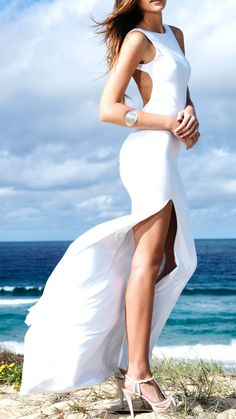 White Beachy Corseted Sleeveless Backless Split Maxi Dress