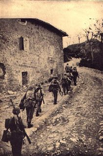 Brazilian soldiers marching to the conquest of Montese on April 14, 1945.