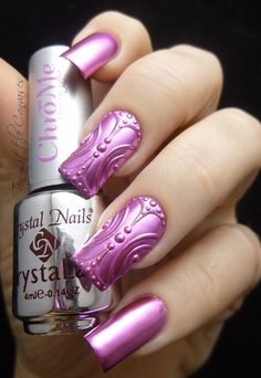 New Mani: Pink Chrome with Hand Drawn Design   Ten Little Canvases