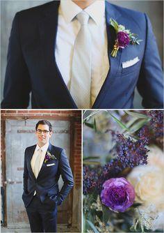 Dark blue suit, light tie and purple boutonniere Wedding Groom, Wedding Men, Wedding Suits, Wedding Styles, Dream Wedding, Wedding Dresses, New Years Eve Weddings, May Weddings, Groom Attire