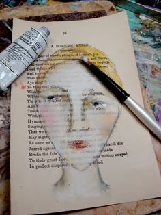 lynne hoppe: process example combining oil pastels with gouache, pencil crayon, etc. on a random background or book page.