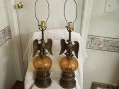 Brass eagle amber globes lamp set for sale at kingresale.com