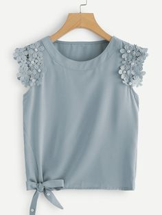 Casual Tank Plain Regular Fit Round Neck Blue Regular Length Knot Side Pearl Beaded Solid Top
