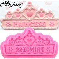 Mujiang Princess Crown Silicone Cake Molds Wedding Cake Border Fondant Cake Decorating Tools Cupcake Chocolate Molds XL281