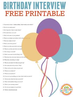 Love annual birthday interviews! Here's a free printable birthday interview questionnaire to help you come up with questions to ask.