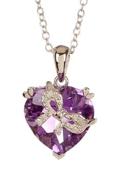 Sterling Silver Heart-Shaped Amethyst & Pave Diamond Bow Pendant Necklace - 0.04 ctw on HauteLook