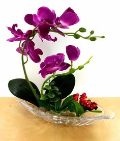Orchid Plants Artificial Flowers Arrangement Home Decoration Glass Vase Orchid Flower Arrangements, Ikebana Flower Arrangement, Artificial Flower Arrangements, Orchid Plants, Succulent Arrangements, Flower Vases, Flower Pots, Teacup Crafts, Artificial Orchids