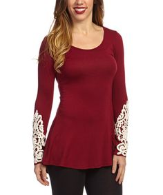 Burgundy Embroidered Scoop Neck Tunic - Women