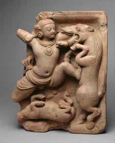 Krishna kills horse demon old terracotta sculpture...from 5th century