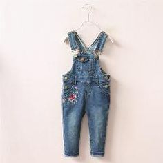[ 25% OFF ] Girl's Embroidered Denim Overall Pants Female Kids Floral Printed Jumpsuits Rompers Bib Pants
