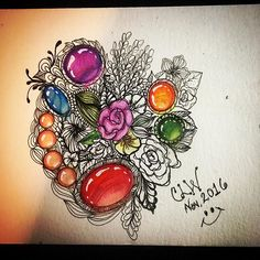 Awesome flowers and gems art created by @thisishowwelearntobebrave with their Chameleon Pens.  #zengem #zengems #zendoodle #zentangleart #art #gems #floralart #chameleonpens #watercolor #polychromospencils #prismacolorwhitepencil #lepen #prismacolormarkers #pigmamicron #cansonpaper