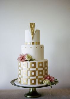 Aqua & Gold Wedding Cake Inspired by The Great Gatsby - - This is cute, but with Danielle's colors? Description from pinterest.com. I searched for this on bing.com/images