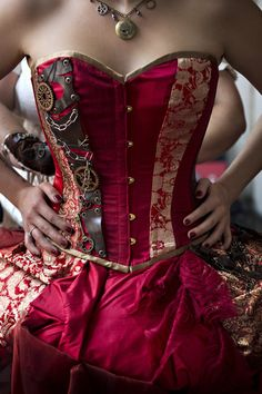 Close up of the steampunk themed wedding corset