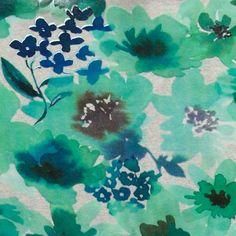 Viskose jersey stretch vannfarg blomster