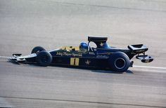 Ronnie Peterson LOTUS 76--new Ralph Bellamy car, supposed to be lighter than the 72, bi-plane rear wing.  New 4 pedal--clutch just used to get underway, left foot brake, right foot brake, gas pedal--with a clutch engage button on shift-knob to change gears.  Tried and shelved.