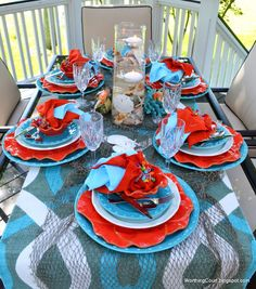 Knock out color at: Worthing Court: Turquoise and Coral Tablescape