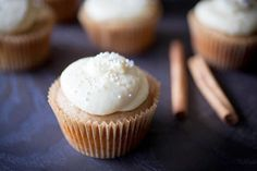 Maple Cupcakes with Cinnamon Greek Yogurt Pastry Cream. If you love Greek yogurt, these are the cupcakes for you #cupcakerecipes