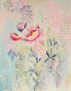Saatchi Art: Chinese Embroidery Painting by Nadia NL Chinese Embroidery, Paper Embroidery, Learn Embroidery, Embroidery Designs, Abstract Flowers, Watercolor Flowers, Watercolor Art, Acrylic Painting On Paper, Paper Art