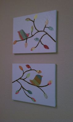 Birds on canvas with modge podge. Might look good with newsprint behind it or modge modged scrapbook paper.