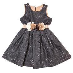 Monnalisa Chic udsalg børnetøj Grå kjole med brunt mavebånd tilbud børnetøj