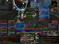 Ridiculous use of User Interface space in an MMO. How do you manage a user interface without it over-powering the activity it's meant to serve? In an MMO a player has to know everything he's doing and be able to manage a huge amount of information at any one time and the user interface helps do this, but how do you design to accommodate this without cluttering the screen? The funny thing about this image is that almost everything you read on it is important to the player.
