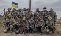 Ukrainian soldiers of the 93rd Mechanized Brigade and Right Sector's volunteer corps in Eastern Ukraine.