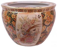 Oriental Furnishings - Chinese Porcelain Fish Bowl Planters Glazed Satsuma Pheasant Design, $41.00 (http://www.orientalfurnishings.com/chinese-porcelain-fish-bowl-planters-satsuma-pheasant/)