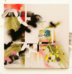 justine frischmann  acrylic, spray paint and paper on canvas