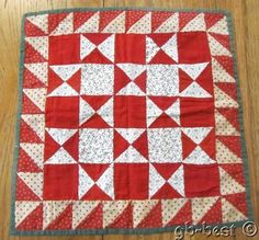 PA c 1890s Touching Stars Doll Quilt