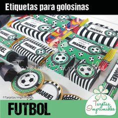 Kit de etiquetas para golosinas FUTBOL Blanco y negro  - Tarjetas Imprimibles