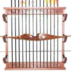 Wooden Archery Rack Bow & Arrows Wall Display- Hang 3 Compound Or Recurve Bows…